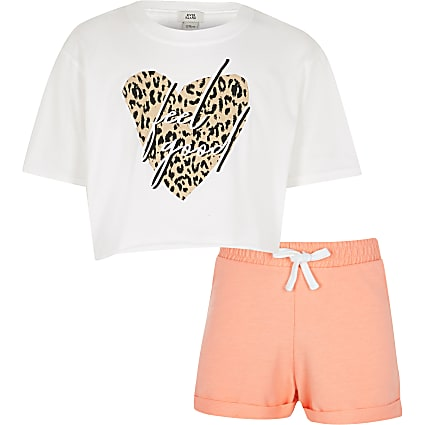 Girls white 'Feel good' print t-shirt outfit