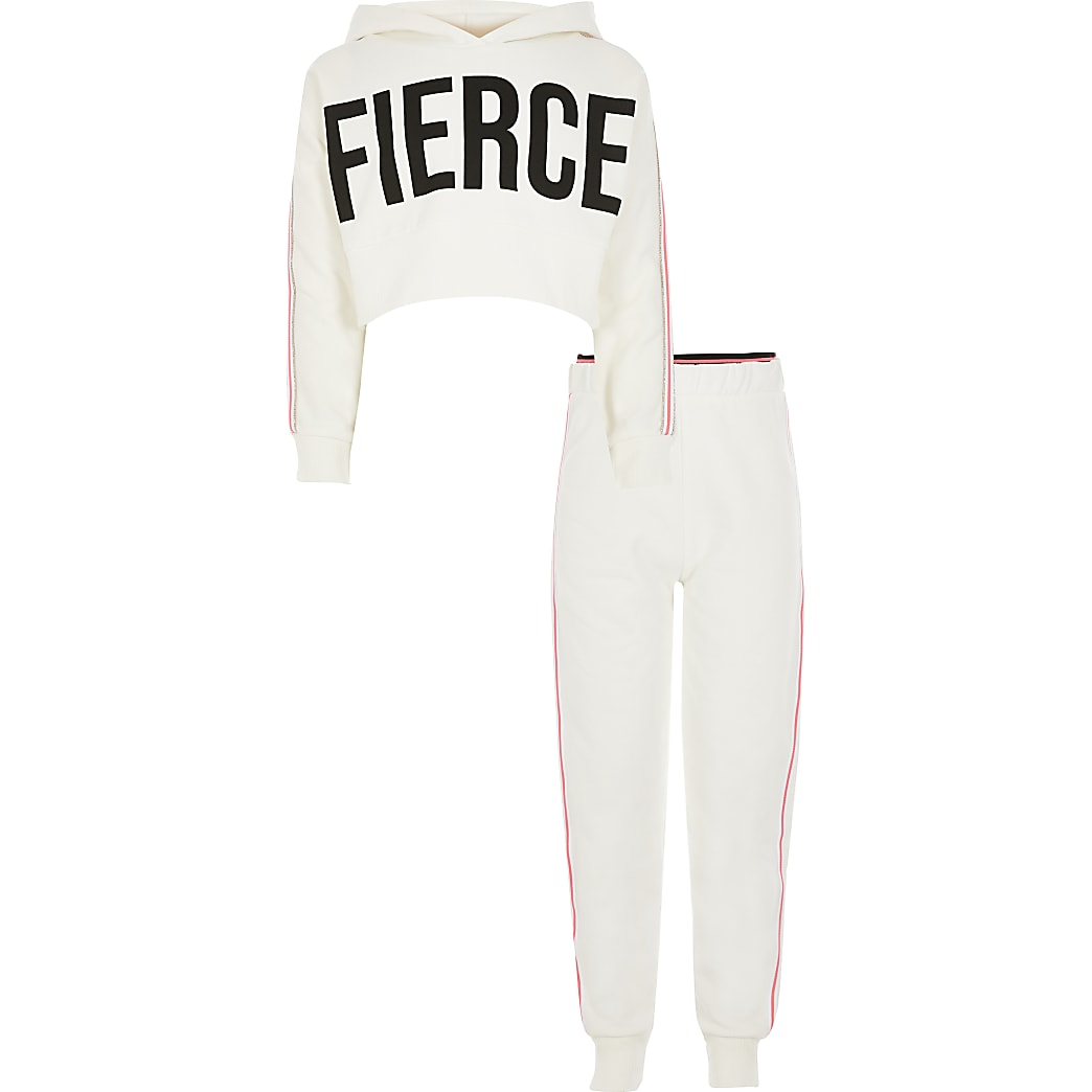 Girls white 'Fierce' cropped hoodie outfit