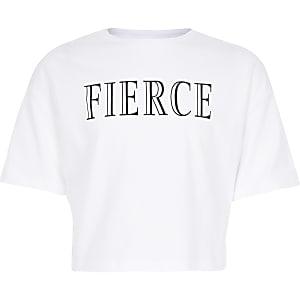 Witte croppedtop met 'Fierce'-print voor meisjes