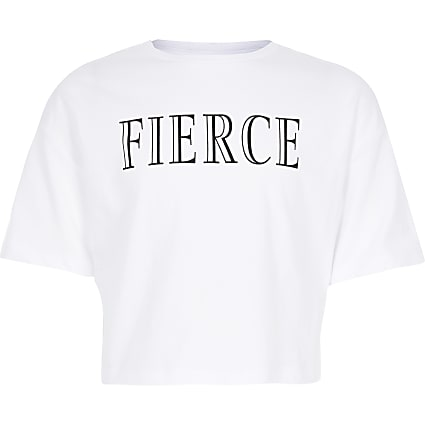 Girls white 'Fierce' cropped top