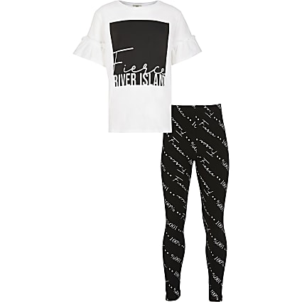 Girls white 'Fierce' print t-shirt outfit