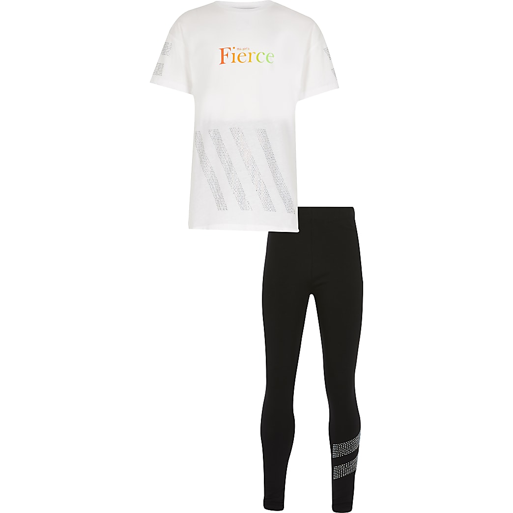 Girls white 'Fierce' t-shirt outfit