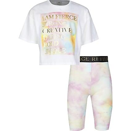 Girls white 'Fierce' t-shirt short outfit