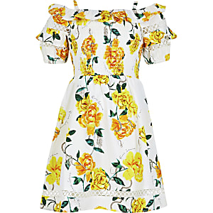 Girls white floral bardot puff sleeve dress