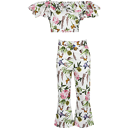 Girls white floral bardot top and trouser set