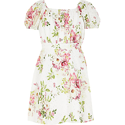 Girls white floral broderie puff sleeve dress