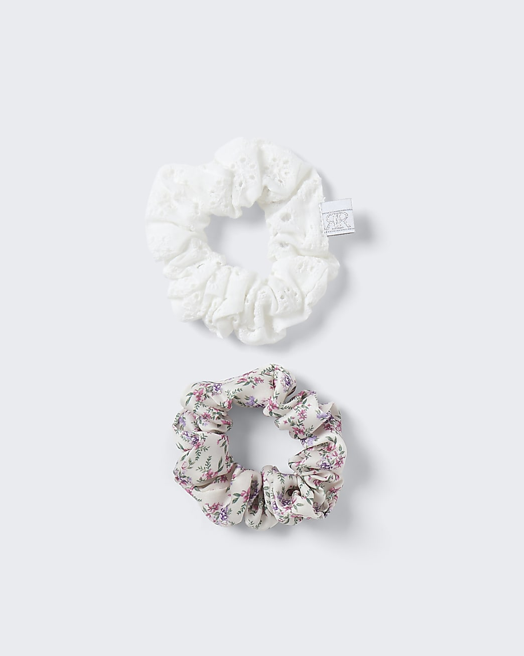 Girls white floral broidery hair scrunchies