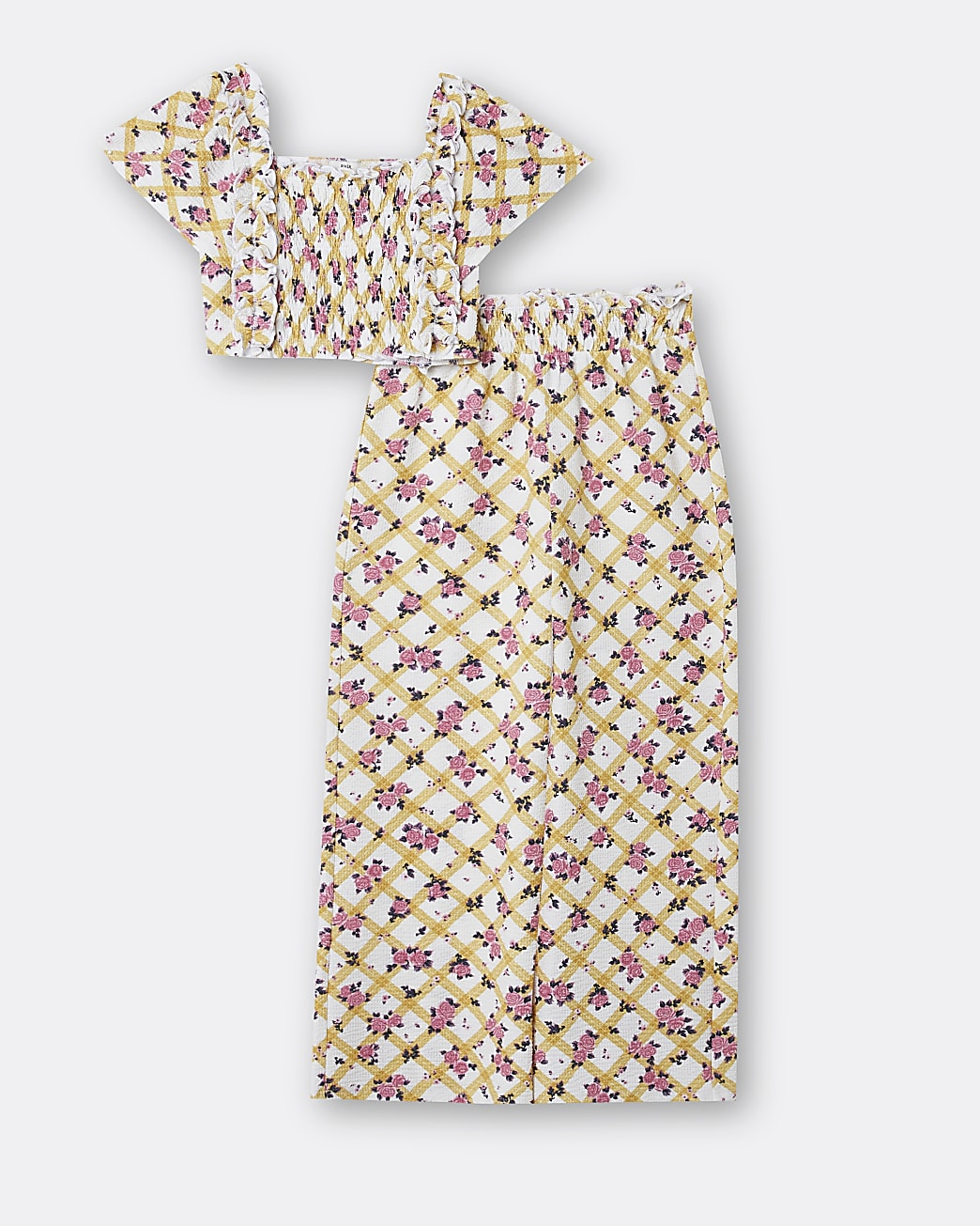 Girls white floral cami and trousers outfit