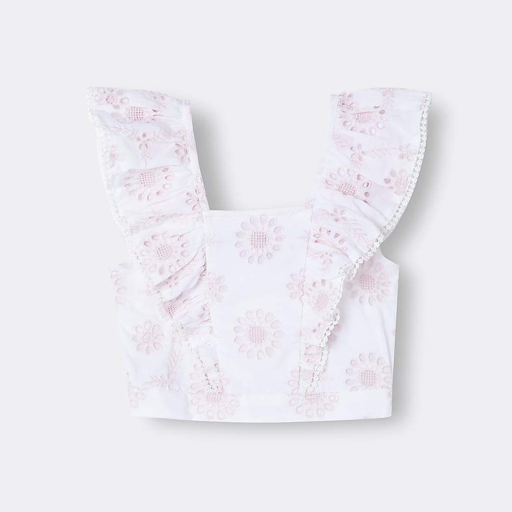 Girls white floral embroidered frill top