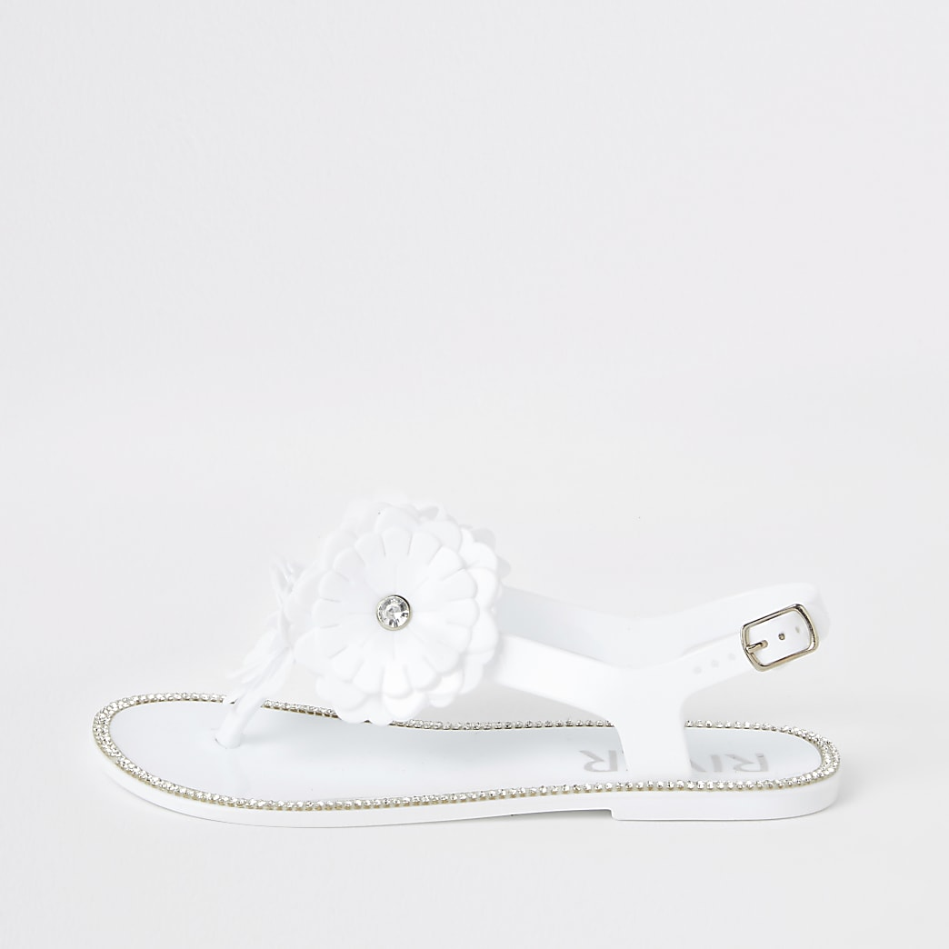 Witte jellly sandalen met bloemen voor meisjes
