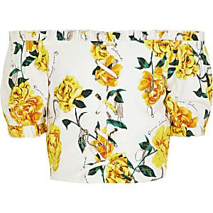 Witte bardottop met bloemenprint en kant voor meisjes
