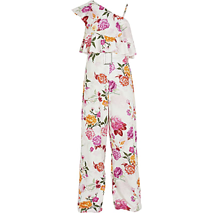 Girls white floral one shoulder jumpsuit