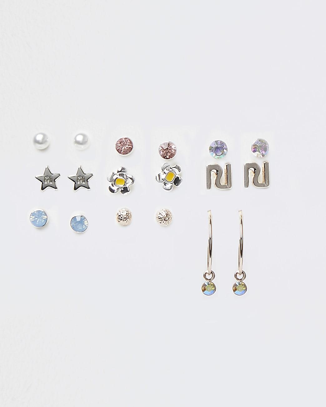 Girls white flower and star earrings 9 pack
