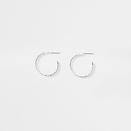 Girls white flower hoop earrings