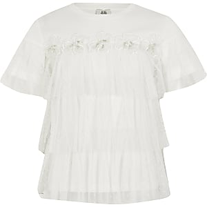 Wit T-shirt met bloemenprint en ruches van mesh voor meisjes