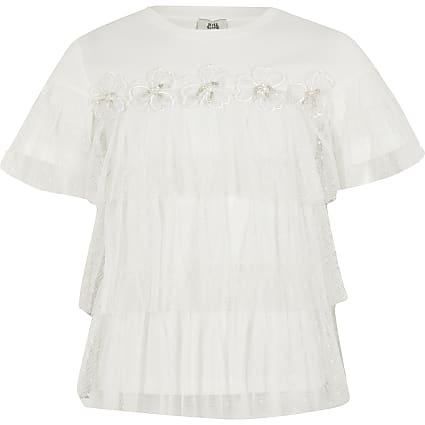 Girls white flower mesh frill T-shirt
