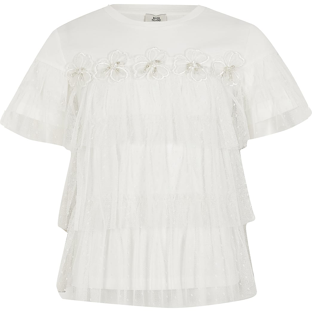 Girls white flower mesh frill T-shirt