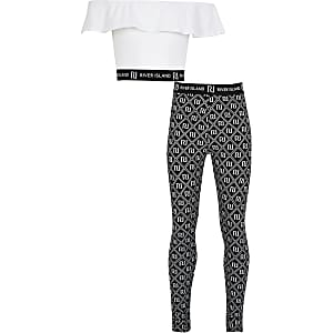 Girls white frill bardot and legging outfit