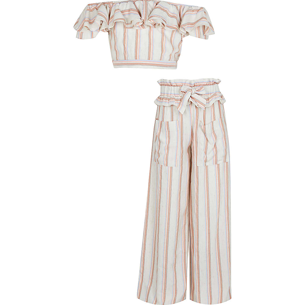 Girls white frill bardot top and trousers set
