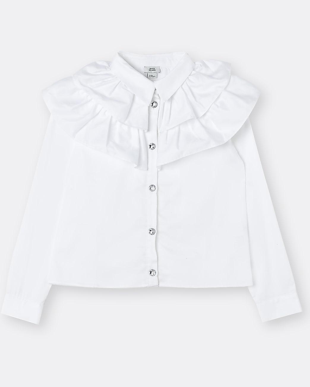 Girls white frill collar shirt