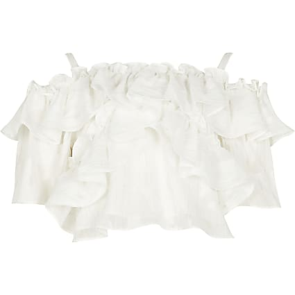 Girls white frill crop top