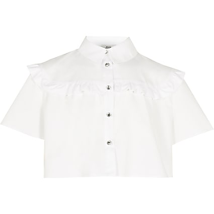 Girls white frill detail crop shirt