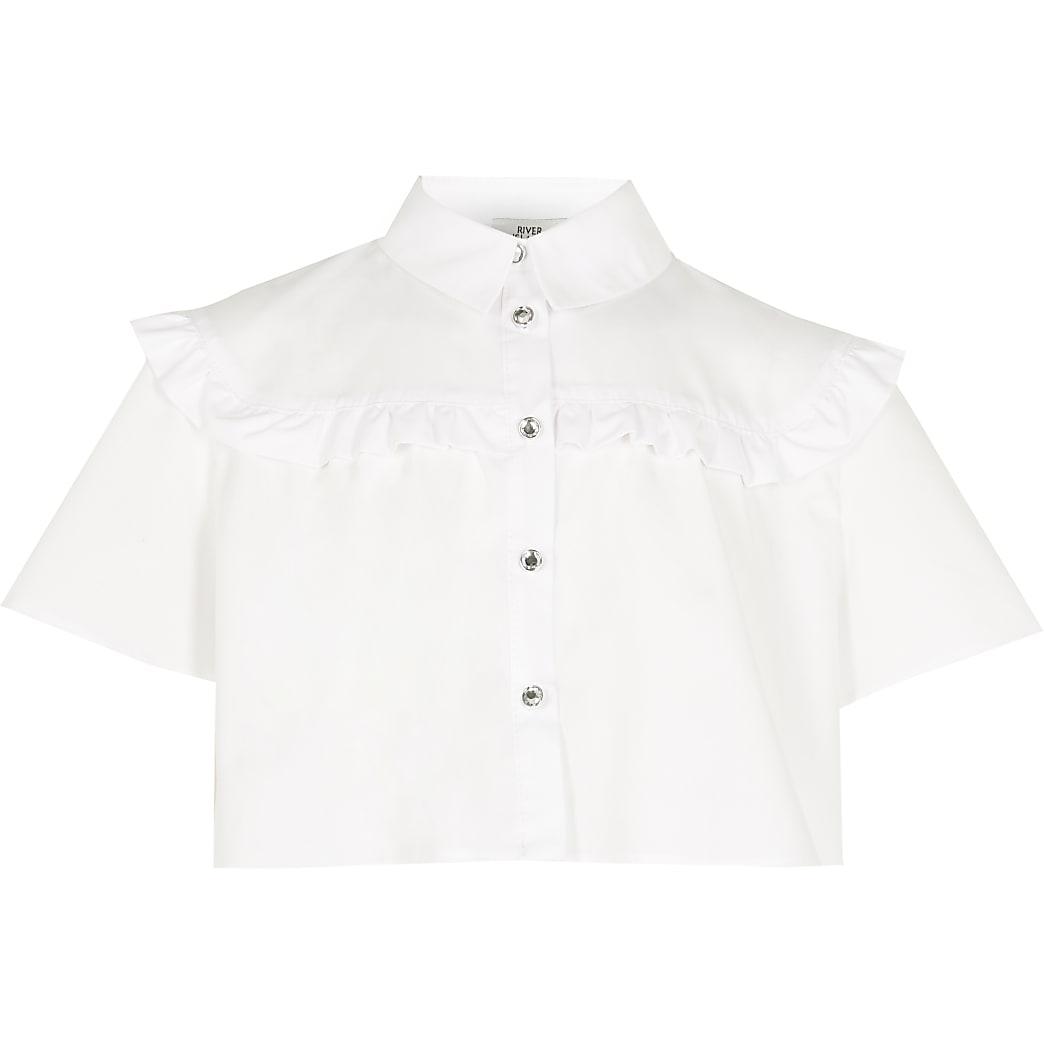 Girls white frill detail crop shirt