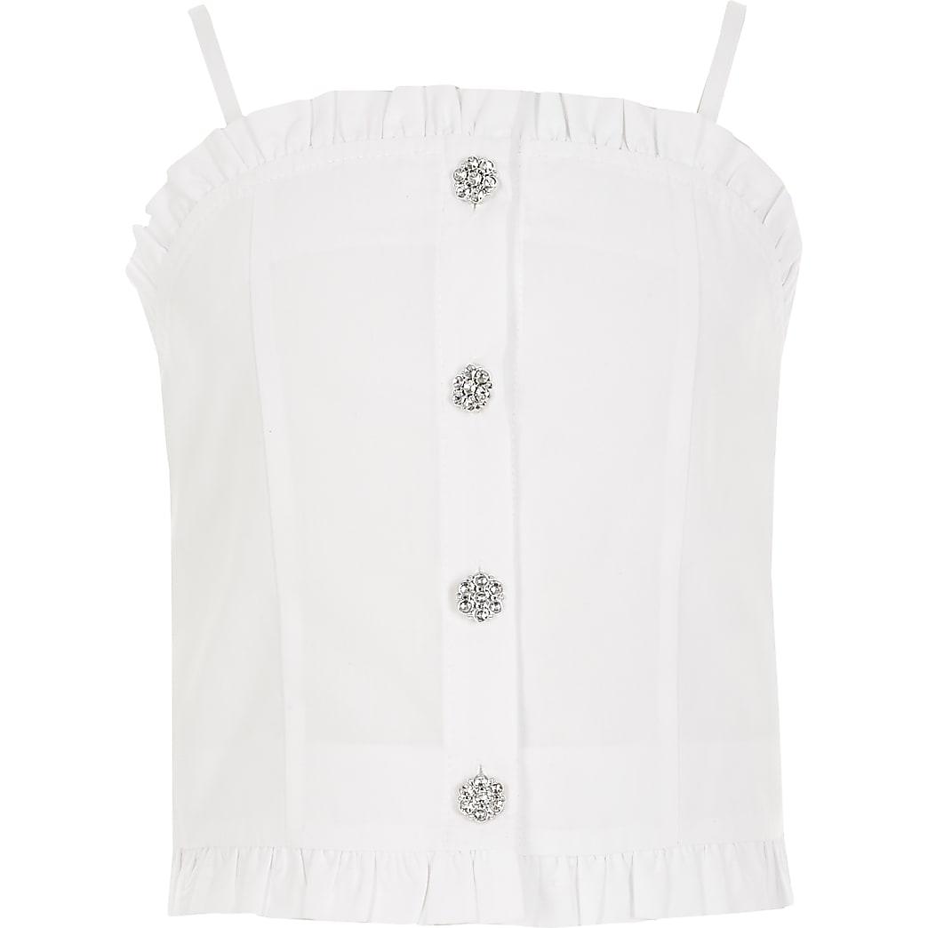 Girls white frill diamante button cami top