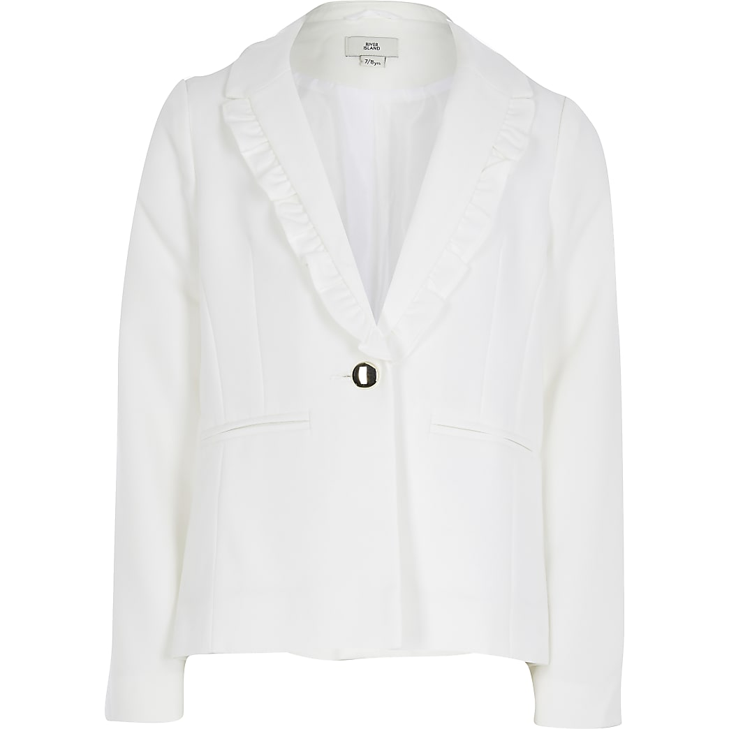 Girls white frill lapel blazer
