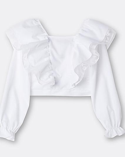 Girls white frill neck blouse top