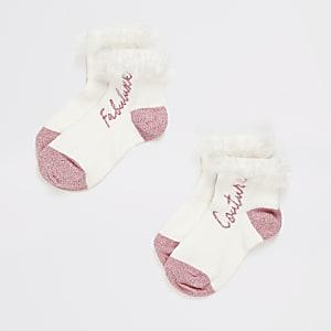 Set van 2 witte sokken met ruches en print voor meisjes
