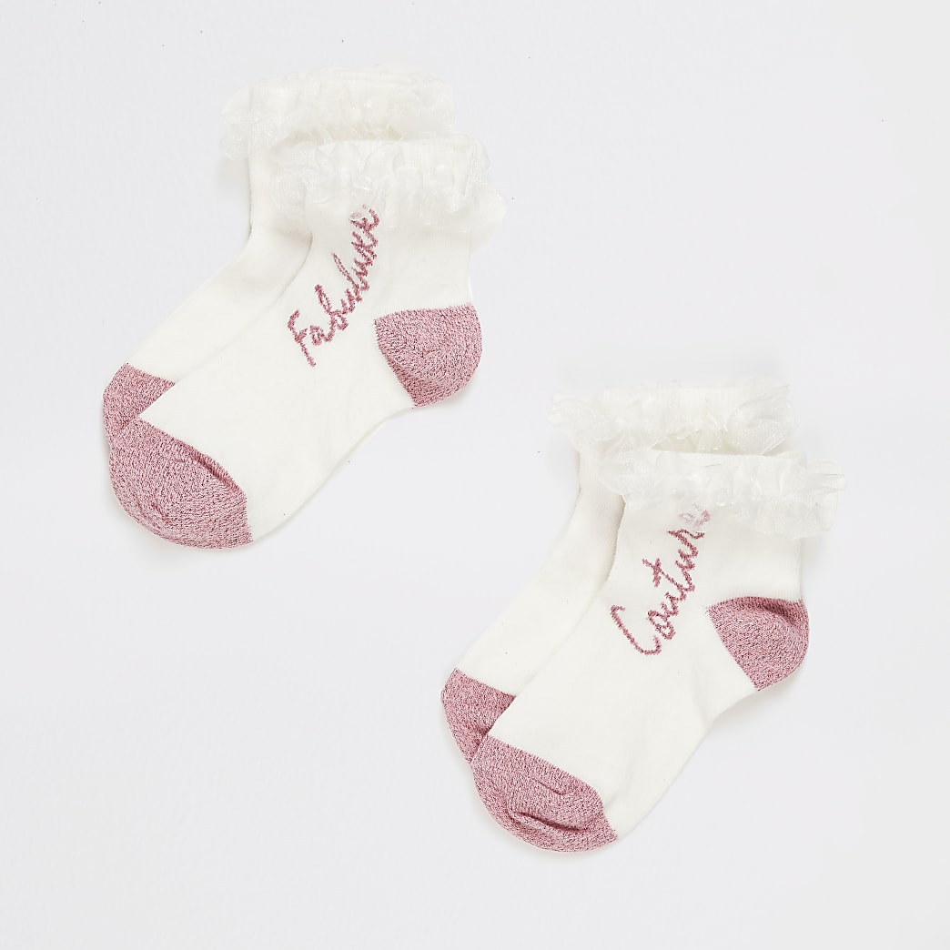 Girls white frill printed socks 2 pack