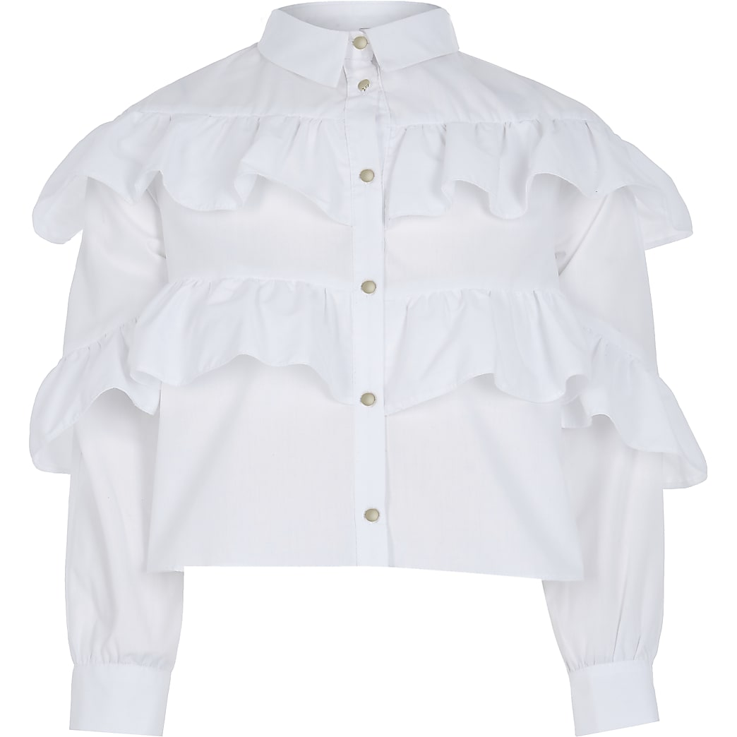Girls white frill shirt