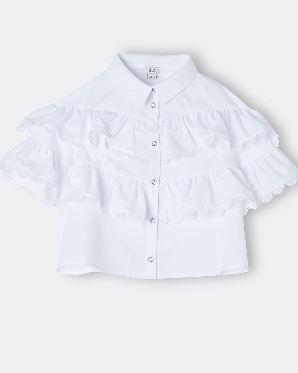 Girls white frill trim collared shirt
