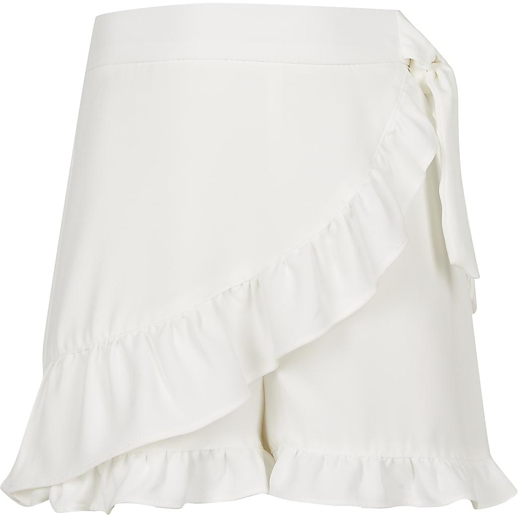 Girls white frill wrap shorts