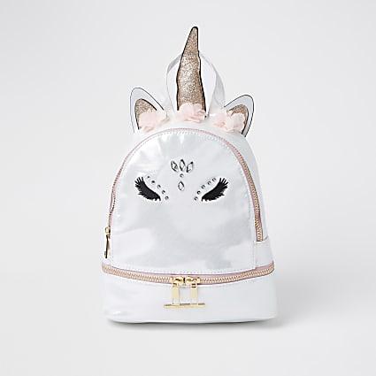 Girls white glam unicorn backpack