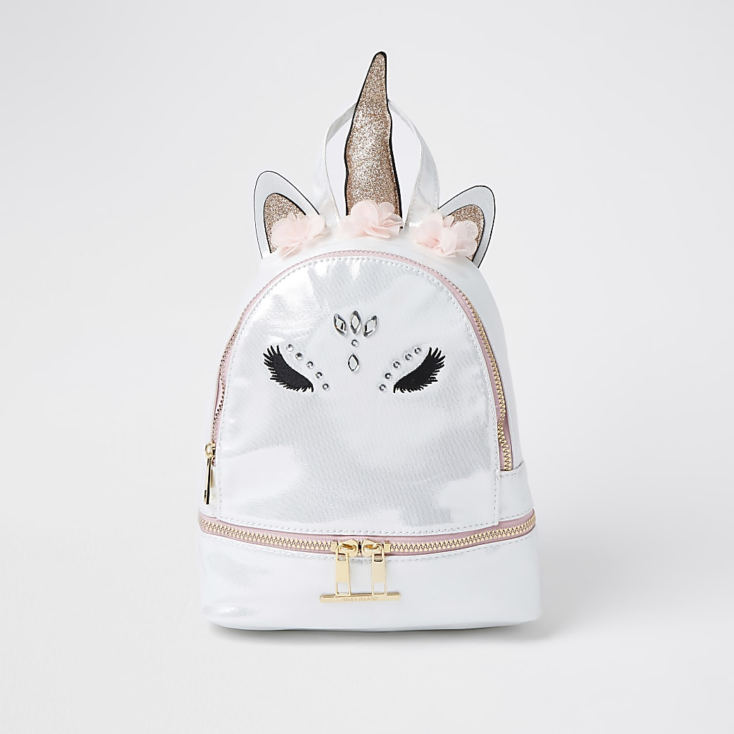 Girls white glam unicorn backpack