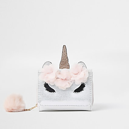 Girls white glam unicorn pom pom purse