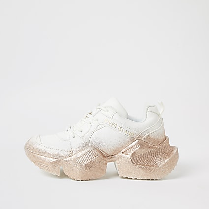Girls white glitter chunky trainers