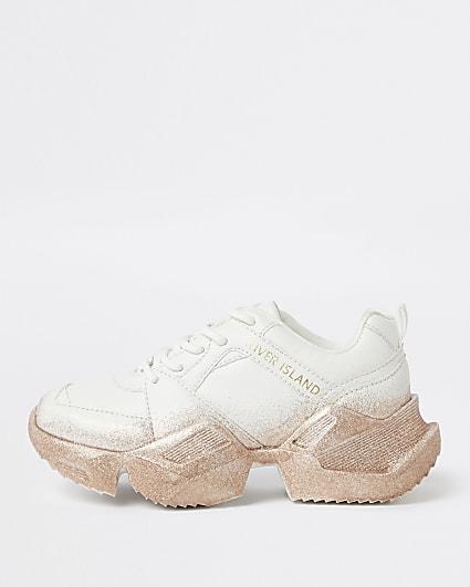 Girls white glitter sole chunky trainers