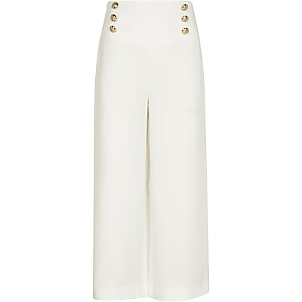Girls white gold button wide leg trousers