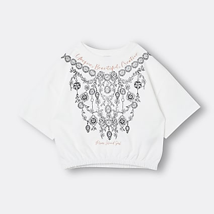 Girls white graphic jewelled cinched t-shirt