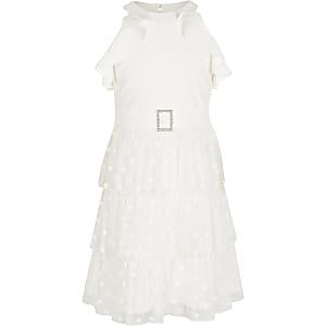 Witte mesh jurk met halterhals en ruches voor meisjes