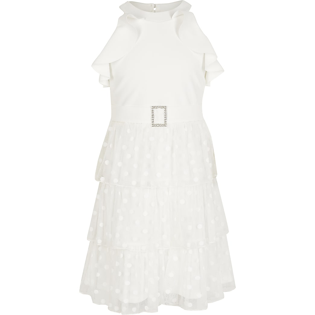 Girls white halter neck mesh frill dress