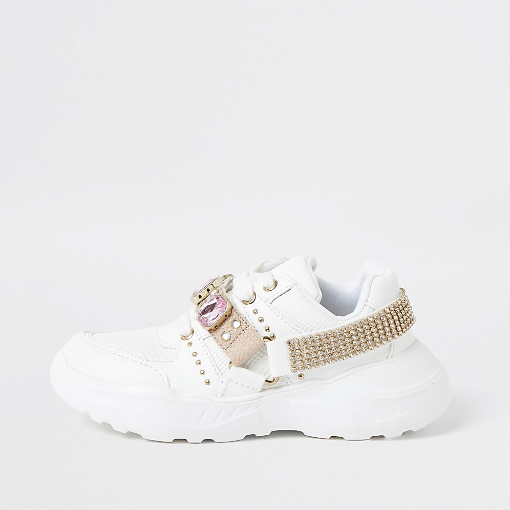 Girls white harness chunky trainers