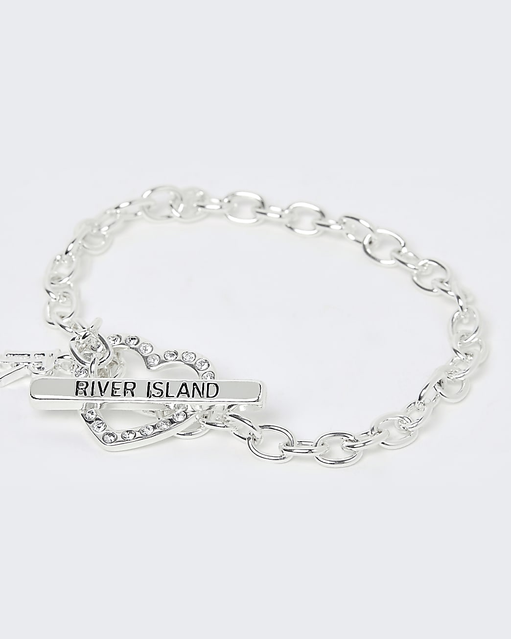 Girls white heart diamante bracelet