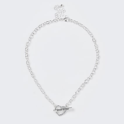 Girls white heart diamante necklace