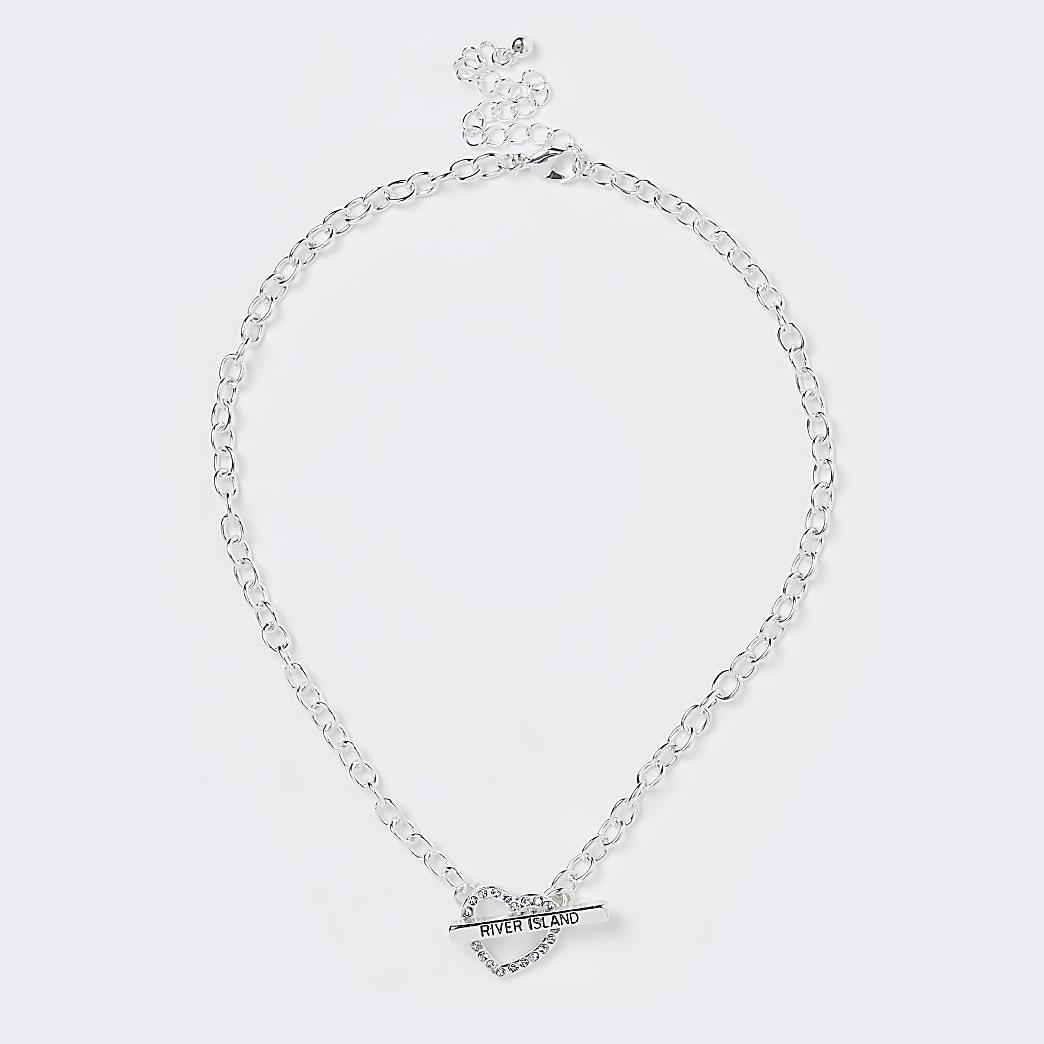 Girls white heart diamante necklace