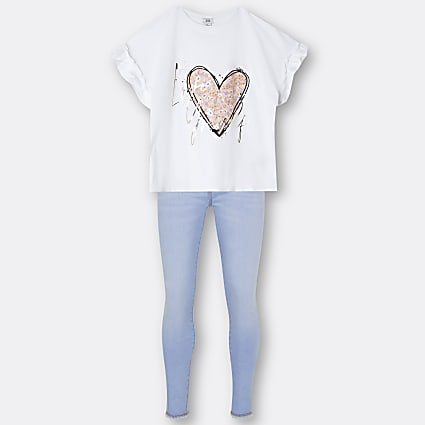 Girls white heart print t-shirt and jeans set