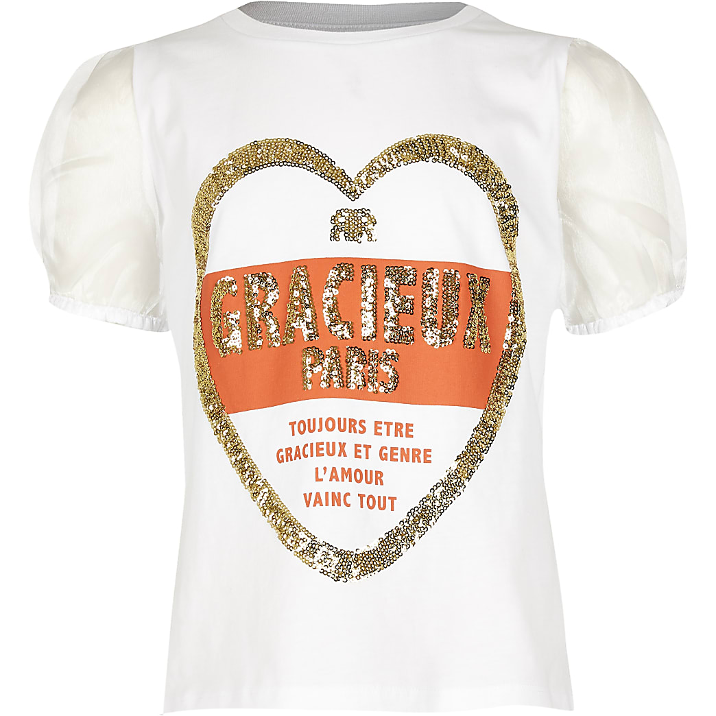 Girls white heart sequin t-shirt
